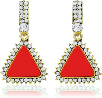 BoBell Sitara Red Pyramid Copper Drop Earring