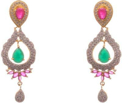 LAHARI ENTERPRISES designer earings Ruby, Emerald, Diamond Alloy Earring Set