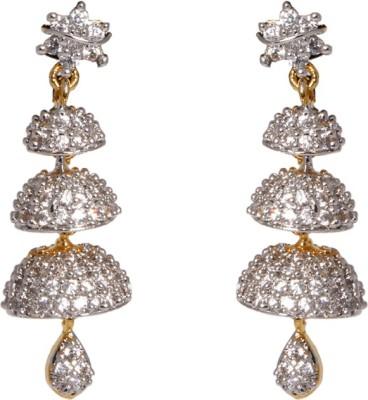 Abhijewels American Diamond Studded Gold Plated Alloy Jhumki Earring