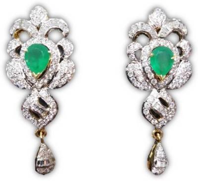 Rajgharana Emerald Green Cubic Zirconia Alloy Drop Earring