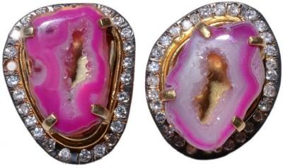 Gharaz Pink agate studs Brass Stud Earring
