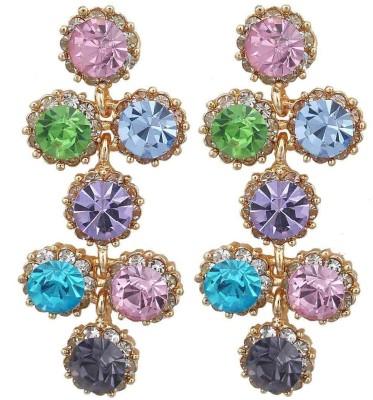Maayra Grand Stone Work Crystal Alloy Drop Earring