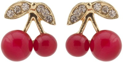 RIANZ New Red Cherry Rhinestone Leaf Alloy Stud Earring