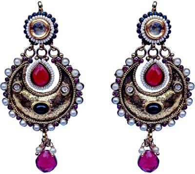 Kundaan Traditional Polki Crystal Copper, Brass Chandelier Earring