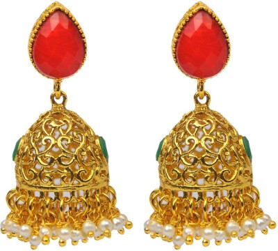Jillcart Red And Green Ruby Stone Gold jhumka Ruby Copper Jhumki Earring