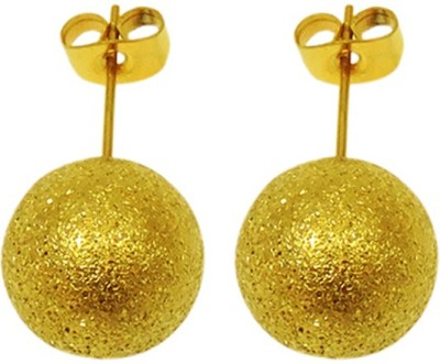 Sanaa Creations Gold plated sparkle ROUND shape Stud Men,s Alloy Stud Earring