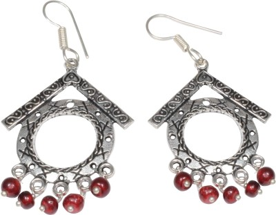 Foppish Mart Roof Top Oxidized Beads German Silver Dangle Earring