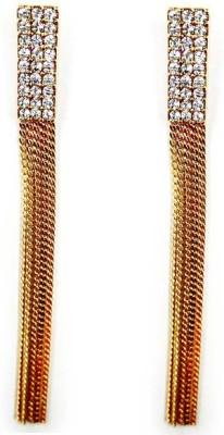 000 Fashions Glamorous 3.25 Inch Crystal Studded Gold Tassel Earrings Crystal Alloy Tassel Earring