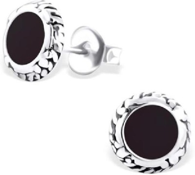 Maayin Round Plain - Black Sterling Silver Stud Earring