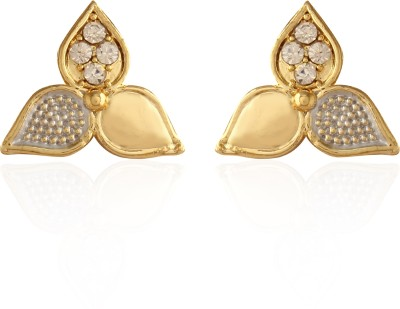 AccessHer Sensous Yhree Petaled Golden Brass Stud Earring