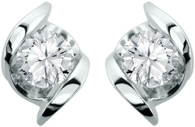 S S Jewellers Solid Swarovski Crystal Sterling Silver Stud Earring