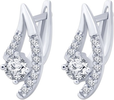 Navvya Special Collectoion Cubic Zirconia Silver Huggie Earring