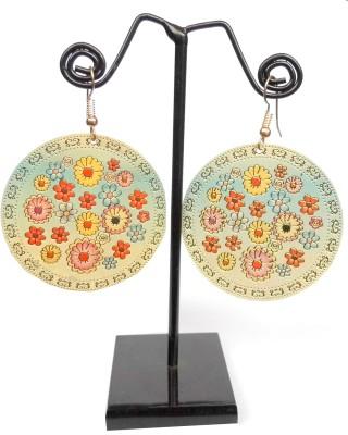 GiftPiper Enamelled Brass Danglers- Sky Blue Enamel Earring Set
