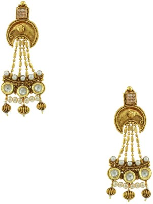 Orniza Chequered Polki Earrings in Champagne Color and High Gold Polish Brass Dangle Earring