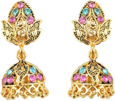 Diovanni Specially Crafted For Actress Wannabe Golden Metal Jhumki Earring
