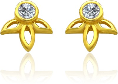 Mahi White Floral Petal Cubic Zirconia Alloy, Brass Stud Earring