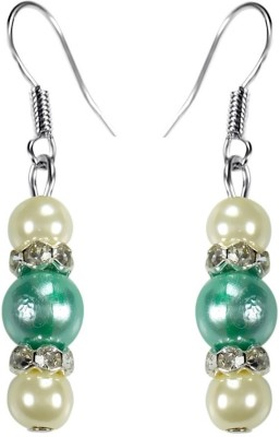 Crystals & Beads Aquamarine Green Colour Round Pearl & White Pearl Bead with Diamond Spacer Acrylic, Glass, Crystal Dangle Earring