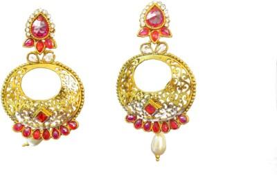 Ratnaraj India New Fashion Red White Color Diamond StonePearl Copper Chandbali Earring