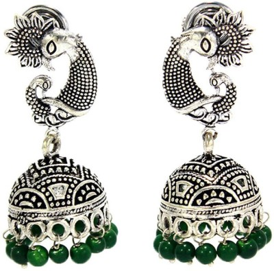 Antique Fashion Hub Oxidized Silver Green Color Brass Jhumki Earring