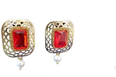 Ratnaraj India Antique Traditional Pearl & Stone Beautiful Copper Drop Earring
