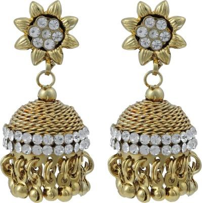 Pankh Studded Polki Design Brass Jhumki Earring