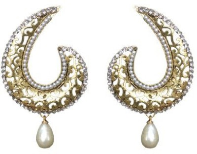 ACW Gold Plated Drop Earrings embellished with White Stones and White Pearl for Women Alloy Drop Earring