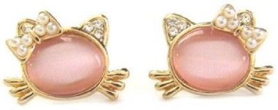 Girlz! Cute Cat Opal And Pearl Alloy Stud Earring