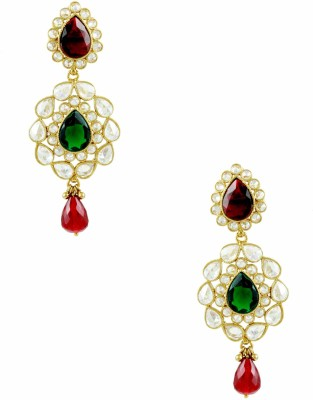 The Art Jewellery Red & Green Colored Brass Drop Earring
