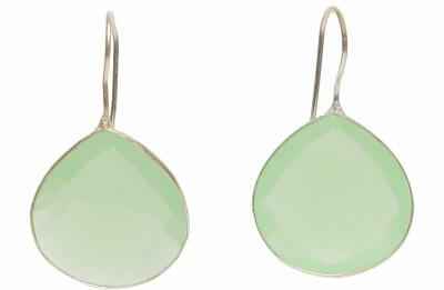 STUDIOB40 Tear drop milky Green faceted stone earrings Alloy Drop Earring