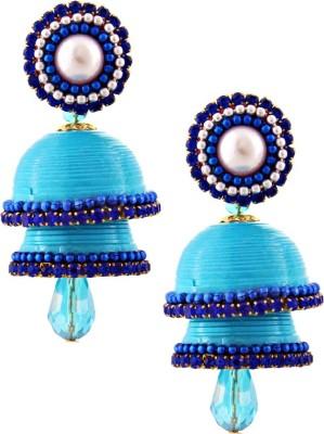 Jaipur Raga Hancrafted Single Stud Blue Double Jhumka Brass Jhumki Earring