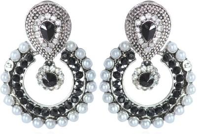 Grand Jewels Black and Silver Alloy Chandbali Earring