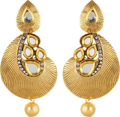 Fabula Gold & White Kundan & Pearl Traditional Ethnic Jewellery for Women, Girls & Ladies Metal Dangle Earring