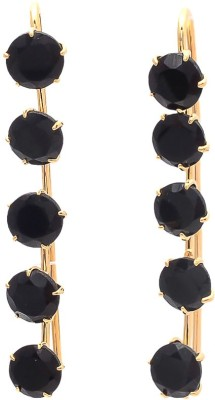 JewelAway Newbee Black Stone Brass Drop Earring