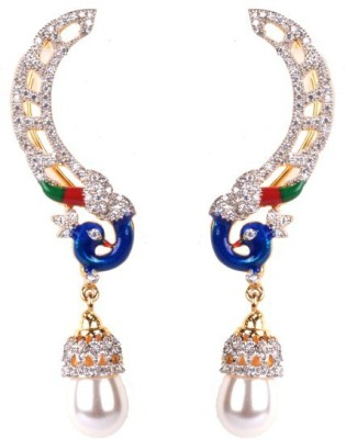 Dipshi Antique Designer Peacock A D Stone & Pearl Traditional Copper Drop Earring