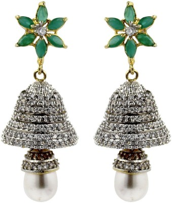 Moda Stella American Diamond Gold Plated White, Green & Gold Color Brass Jhumki Earring