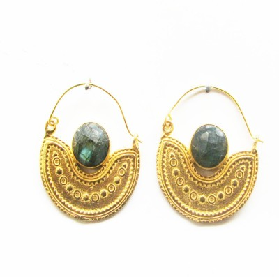 Gharaz semi precious Gold plated Labradorite Brass Hoop Earring