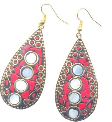 Pearls India Tear Drop Red Metal, Lac Dangle Earring