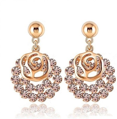 Wearyourfashion Studded Rose Flower Crystal Alloy Drop Earring