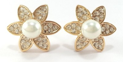 Jasveen Jewellery White Pearl & Crystal Swarovski With Gold Plated Crystal Alloy Stud Earring