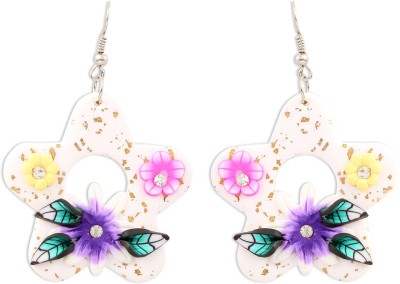 Jewel Funk Multicolored Floral Shaped Rubber Dangle Earring