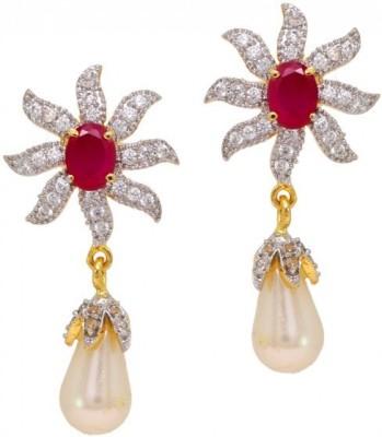 Jewelskaro American Diamond Ruby Pearl Antique Dangler Designs Flower Shape for Women & Girls Ruby, Cubic Zirconia, Pearl Brass Drop Earring