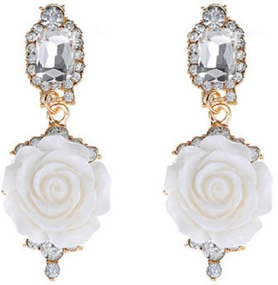 Jewel Touch Glamour Shine Ivory Rose Design Alloy, Acrylic Drop Earring