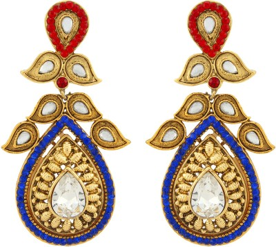 Asmara Dazzling Gold Plated Kundan And Stone Encrusted Alloy Drop Earring