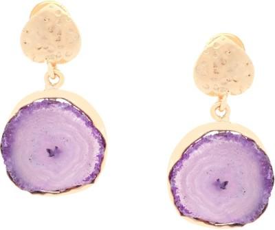 Orolush Astonishing Purple Stoned Solar Flower Copper Drop Earring