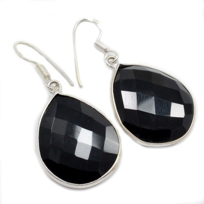 Silvesto India 1465 Onyx Sterling Silver Dangle Earring, Drop Earring