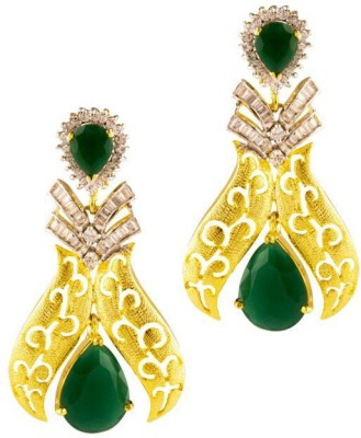 Jahnvi Flawless Green Metal Drop Earring