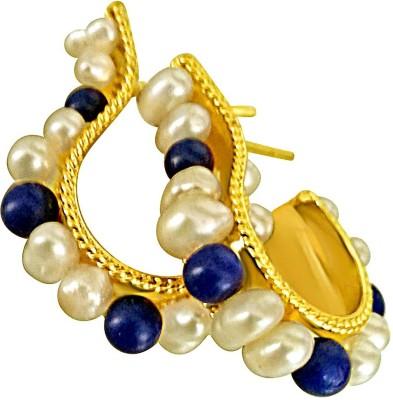Surat Diamond Real Pearl and Blue Lapiz Pearl, Lapis Lazuli Metal Hoop Earring