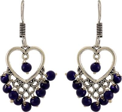 Subharpit Heart Shape Hanging Beads Metal Dangle Earring