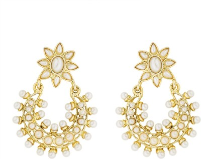 BeBold Chandbali Pearl Antique Brass Chandbali Earring
