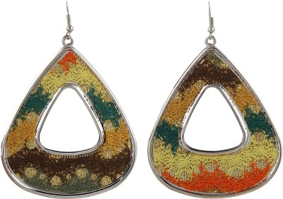 Gracent Rounded Triangle Orange, Yellow, Brown Metal Dangle Earring